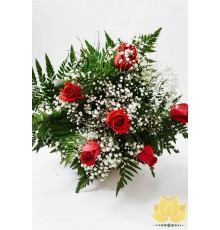 Buque de 6 rosas vermelhas