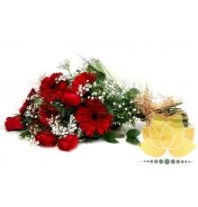 Buque de Gérbera e Rosa Vermelha